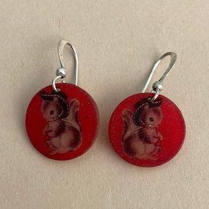 Vintage Squirrel Cowboy Disk Earrings